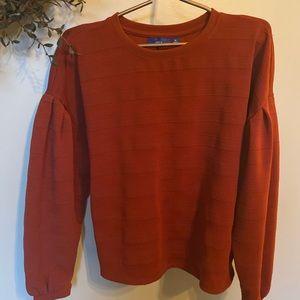 Drops shoulder with pleats brick colored casual top